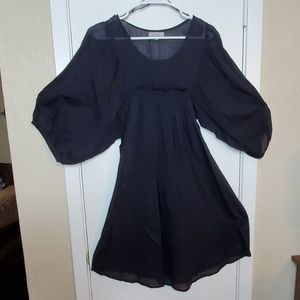 Black Knee-length High-waisted 3/4 Sleeve Dress